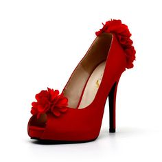 Red Satin Wedding Shoes with Flowers by ChristyNgShoes on Etsy, $87.00