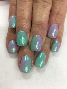Spring Easter Lavender Mint Ombré Mermaid Indigo Emerald Unicorn Effect Shimmer Gel Nails