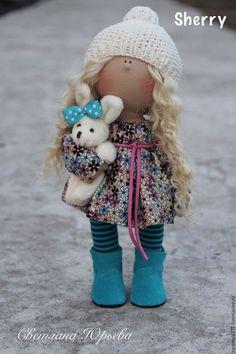 Купить Интерьерная кукла - бирюзовый, кукла ручной работы, кукла в подарок, кукла текстильная, хлопок