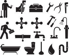 Plumber black and white royalty free vector icon set vector art illustration