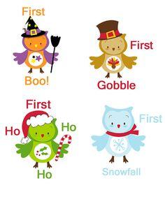 My First Onesie Owl Stickers First Holidays Seasonal Onesie Stickers Monthly Baby Onesie Stickers Girl Boy WATERPROOF Baby Shower Gift