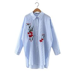 YYG Men Jeans Long Sleeve Lapel Washed Regular Fit Button Down Blouse Shirt Tops