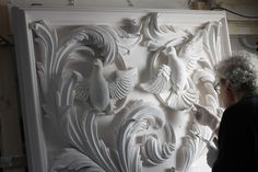 Title: The New House. The Art Work of Geoffrey Preston the UK's leading stonemason, carver and architectural sculptor. He specializes in sculpture and decorative plasterwork and stucco for buildings, interiors and gardens. Plaster Art, Plaster Walls, Glass Block Crafts, Picture Frame Crafts, Sculpture Clay, Stone Sculptures, Artist And Craftsman, Rococo Style, Clay Design