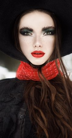 Red Lips. Red Scarf