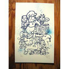 "Creeps Fun by Crevice Creeps  $20.00 Regular  Screen print and spray paint onto premium classic cream medium tooth acid free drawing paper.  12x18""  Limited edition of 100  #streetart #urbanart #thumbprintgallery #art #artist #sandiego"