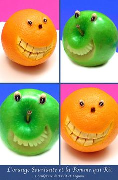 How to Make Orange and Apple Smiley Faces (check out the video)