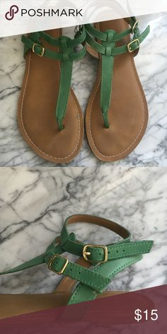 Green sandals Super comfy green sandals with gold accent buckles perfect for spring and summer. Worn a few times but still in good condition Franco Sarto Shoes Sandals