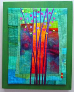 """Budding Hand dyed silks, cotton sateen and various cottons, fused, machine quilted, mounted on painted wood panel. 11x14"""""""