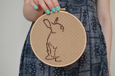 Bunny Rabbit Embroidery Hoop Wildlife Embroidery by midgins