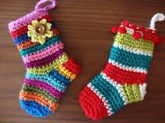 Multicolored Miniature Christmas Stockings These could hold a mini candy cane & be added to decorate a present or hang from the tree.