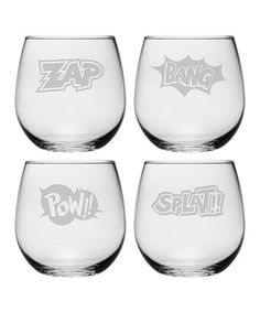Look what I found on #zulily! Comic Chaos Stemless Wine Glass Set by Susquehanna Glass #zulilyfinds