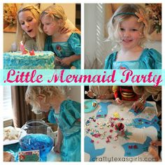 Little Mermaid Party at Crafty Texas Girls Decorate tails. Then pin the tail game. Great idea.