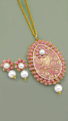 Tanjore style layered paper pendant google search paper multistone white synthetic pearl gold plated brass floral shape pacchi kari pendant set johareez aloadofball Gallery
