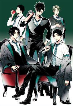 Haikyuu x Harry Potter (House Slytherine) Iwaizumi Hajime, Kuroo Tetsurou, Akaashi Keiji, Haikyuu Karasuno, Kagehina, Nishinoya, Manga Haikyuu, Haikyuu Funny, Haikyuu Fanart
