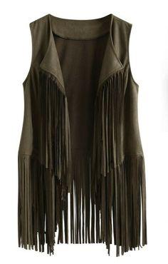 aihihe Vest for Women Autumn Winter Faux Suede Ethnic Cardigan Sleeveless Tassels Fringed 70S Vintage Vest Cardigans