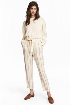 Spodnie w paski - Naturalna biel/Paski - ONA   H&M PL