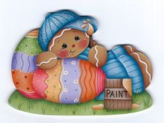 This is a painting pattern that I have created for one of my designs:Painting Easter Eggs ornament or fridge magnet. This e-pattern includes a