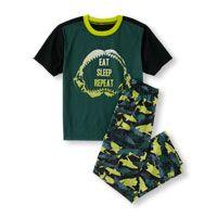 Boys Short Sleeve 'Eat Sleep Repeat' Shark PJ Set