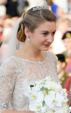 The Bride (Gown) of the Year Is. The Elie Saab Haute Couture wedding gown for Princess Stephanie de Lannoy when she married Prin. Royal Wedding Gowns, Royal Weddings, Lace Wedding Dress, Wedding Dresses, Ellie Saab, Royal Crowns, Royal Tiaras, Wedding Looks, Bridal Looks