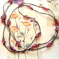 Knotted Cord Bead Pink and Brown Necklace £11.50