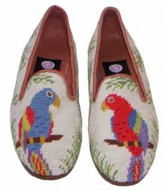 by paige needlepoint parrot loafers