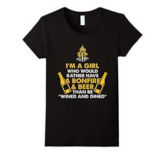 Womens funny camping t shirt sayings camping girl with beer t shirt Small Black
