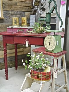 Vintage red farm table with drawer...desk size.