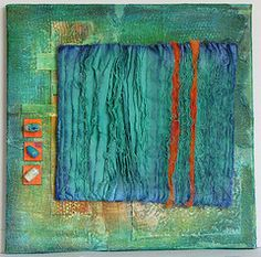 """Fringe"" hand-dyed quilt on painted stretched artists' canvas with paper and beads, 12"" x 12"" by Judi Hurwitt"