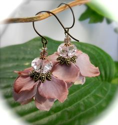 GLITTERBY--Floral earrings, in a skirt of muted mauve, rose and palest lilac, under a crystal droplet..