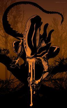 Alien brown by artist Tom Kelly by TomKellyART on DeviantArt Alien Vs Predator, Predator Movie, Predator Alien, Starwars, Science Fiction, Giger Alien, Giger Art, Aliens Movie, Arte Obscura