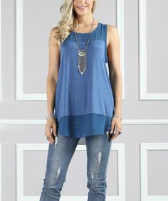 Another great find on #zulily! Slate Chiffon-Accent Sleeveless Tank - Plus Too #zulilyfinds
