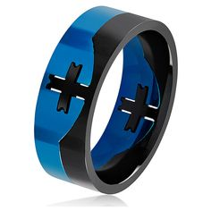 Men's West Coast Jewelry Men's Two Tone Stainless Steel Center Cross... ($16) ❤ liked on Polyvore featuring men's fashion, men's jewelry, men's rings, jewelry & watches, rings, mens wide band rings, mens stainless steel cross rings, mens stainless steel rings, mens two tone wedding rings and mens watches jewelry