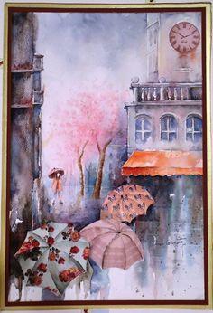 Como pintar con acuarela combinado con los papeles HD - Cuadro lluvia de paris