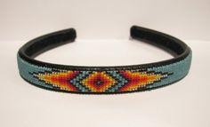 Native American Beadwork headbands   Headband NavajoBeaded Teal Green Native by SweetwaterDreams