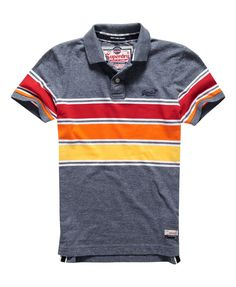 Mens - Chest Band Grindle Polo Shirt in Eclipse Grindle | Superdry