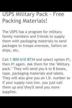Free packaging materials for care packages from the USPS!