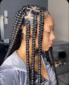 Box Braids Hairstyles For Black Women, Braids Hairstyles Pictures, Cool Braid Hairstyles, African Braids Hairstyles, Baddie Hairstyles, Braids For Black Hair, Girl Hairstyles, Protective Hairstyles, Curly Hair Styles