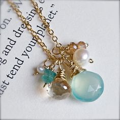 Gold Cluster Necklace with Pearl, Apatite, Champagne Quartz, and Chalcedony