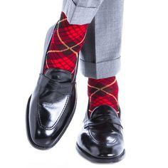 Dapper Classics Red with Black and Yellow Tartan Cotton Linked Toe Sock