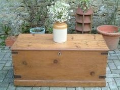 A Restored Victorian Antique Pine Linen / Blanket Box
