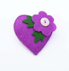 ESTHER  A Retro Style Purple Flower Heart  Felt by CherryPips, $19.00