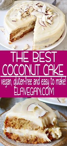 Vegan coconut cream cake with an oil-free frosting which reminds of Raffaello! The recipe is dairy-free, egg-free, gluten-free, oil-free, and easy to make! Vegan Dessert Recipes, Vegan Sweets, Gluten Free Desserts, Cake Recipes, Vegan Coconut Cake, Coconut Cakes, Coconut Desserts, Coconut Cream, Coconut Flour