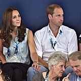 Kate casually rested her hand on Will's leg at 2014's Commonwealth Games in Glasgow, Scotland.