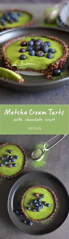 Matcha Cream Tarts with Chocolate Crust