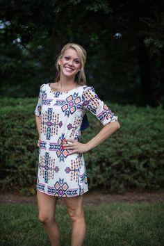 Aztec Print Bow Back Dress - LaMaLu Boutique | Women's Online Clothing Boutique