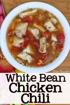 White Bean Chicken Chili Soup Recipe - Want to avoid eating out or take out? Check out these Quick and Easy Meal Solutions for busy moms and families. Enjoy an easy White Chicken Chili recipe for lunch or dinner.