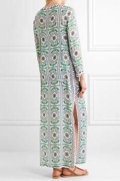 Tory Burch - Garden Party Beaded Printed Silk-chiffon Maxi Dress - Green -