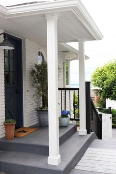 porch paint ideas Want to refresh your concrete patio or porch steps? Give your curb appeal a boost and a fresh and clean new look with paint or stain. Painted Concrete Steps, Stained Concrete Porch, Concrete Front Porch, How To Paint Concrete, Painting Concrete Porch, Painted Patio Concrete, Concrete Paint Colors, Outdoor Concrete Stain, Concrete Staining