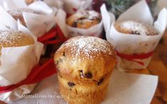 These Mini Chocolate Chip Panettone are so cute and delicious you'll want to make and eat them year round. Your kitchen will smell amazing as these are Panettone Cake, Christmas Cooking, Christmas Desserts, Christmas Recipes, Panatone Bread, Italian Christmas Bread, Just Desserts, Dessert Recipes, Panettone