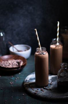 Toasted Coconut Chocolate Peanut Butter Banana Smoothie {dairy-free}